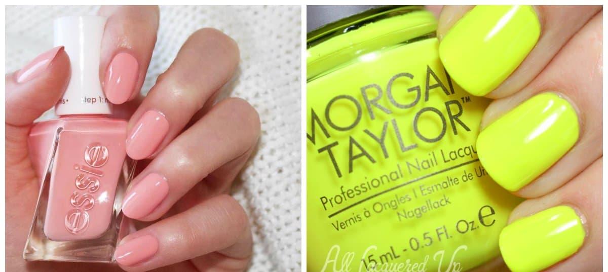summer nails 2018, pink peach nails, lemon yellow nails