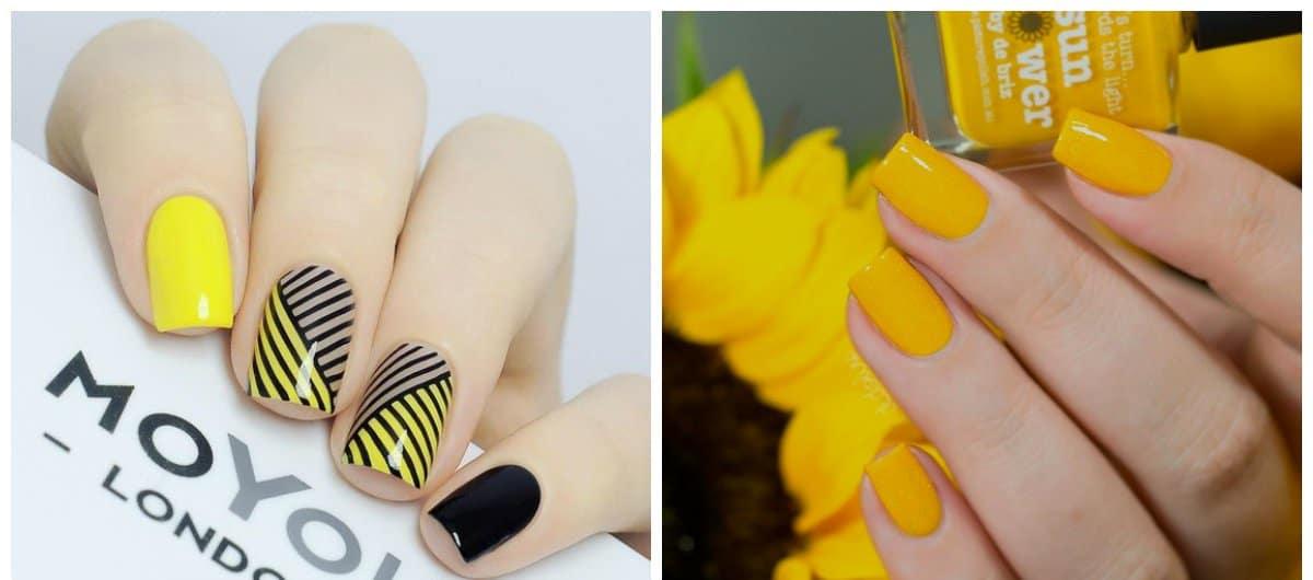 summer nails 2018, sunny yellow nails 2018
