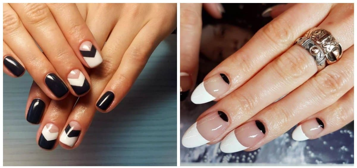 winter nail polish colors, black and white winter nails 2018
