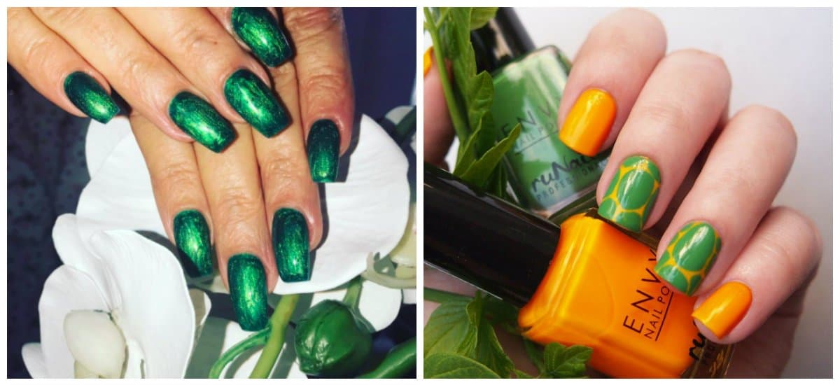 winter nail polish colors, green and yellow polish colors