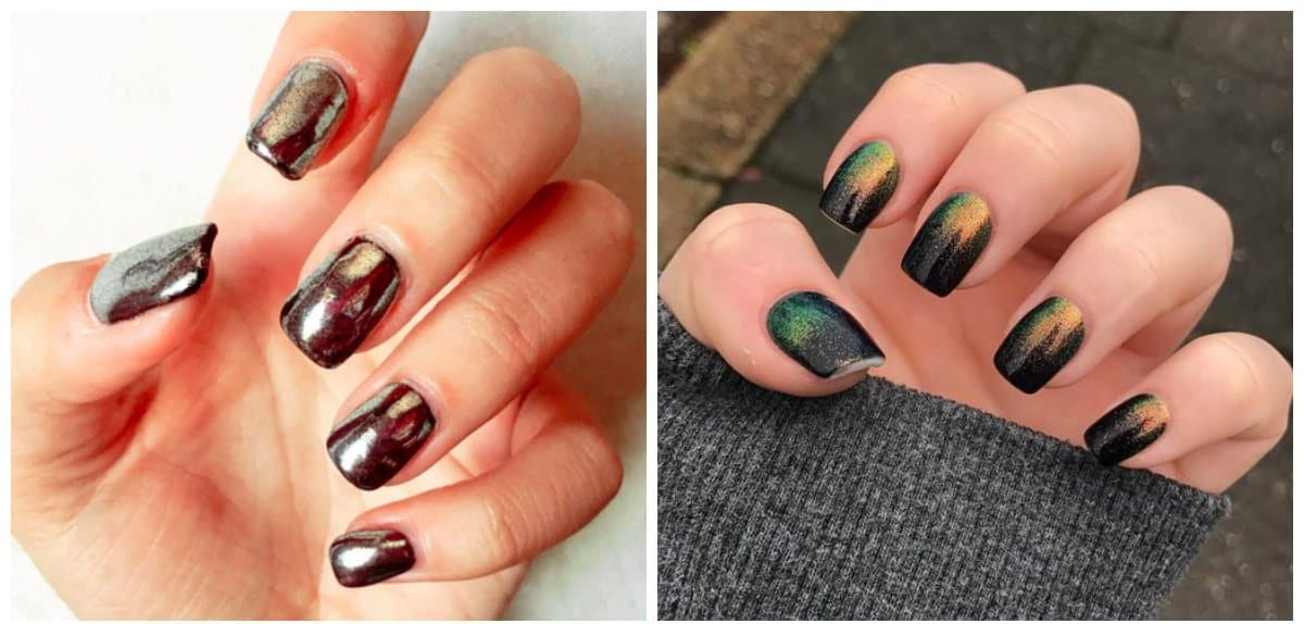 winter nail colors 2018, metallic shades of winter nails 2018