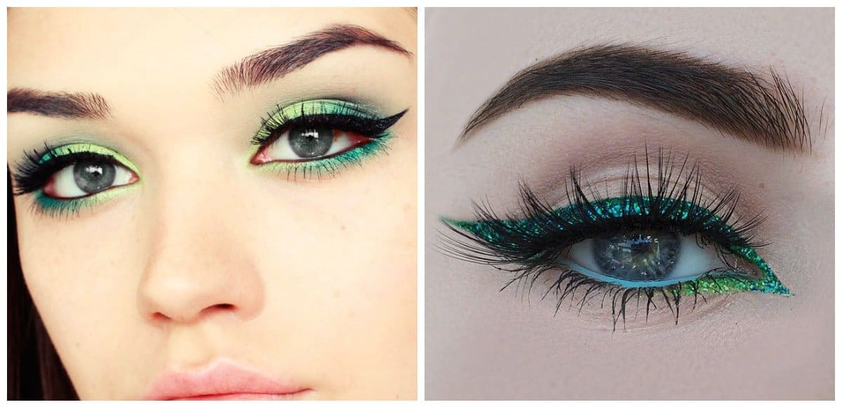 makeup looks 2018, fashionable green eyeliner
