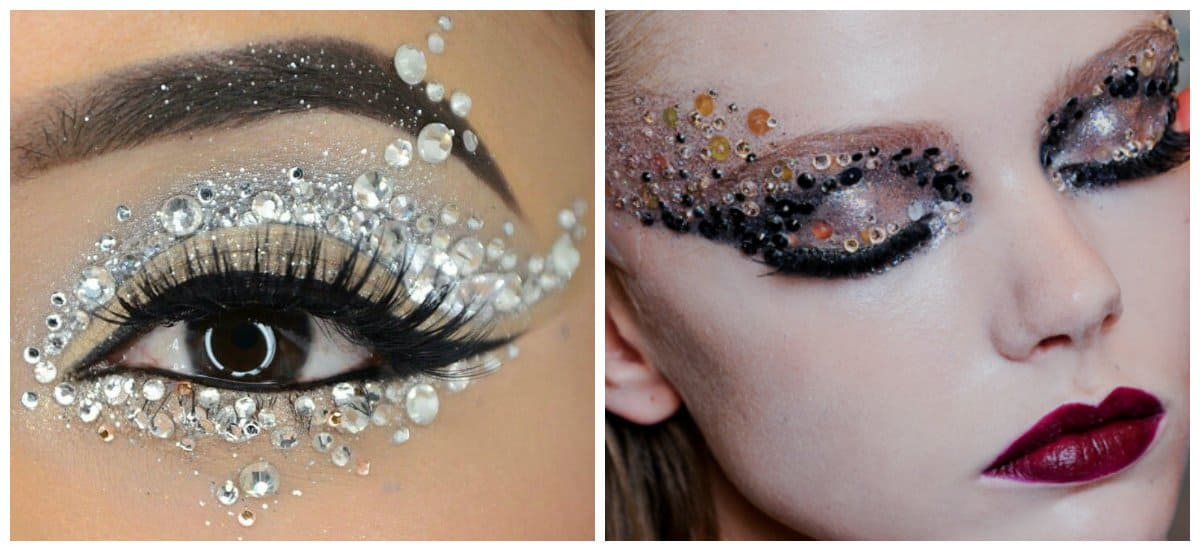 makeup looks 2018, makeup with rhinestones