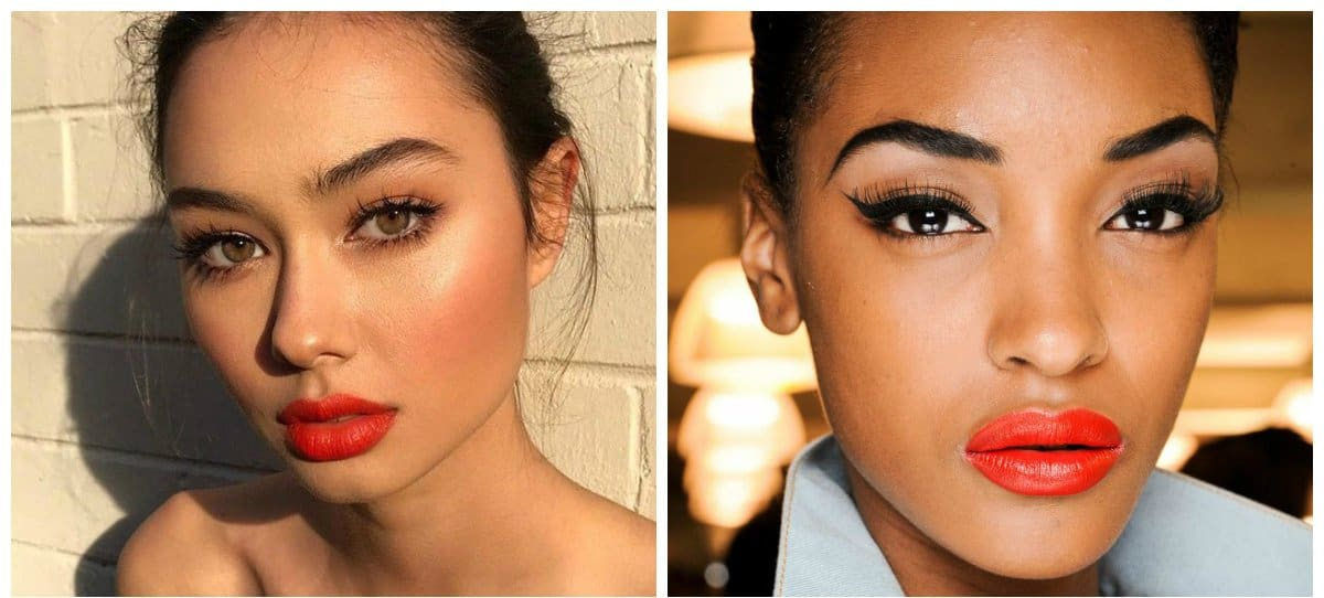 new beauty trends 2018, red orange lipstick