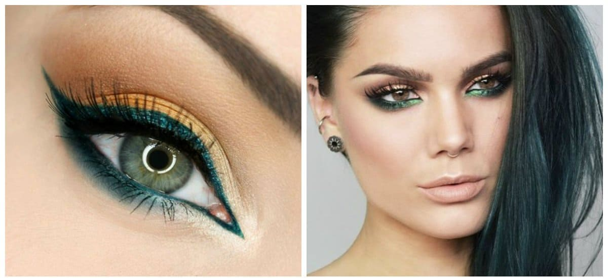 top beauty trends 2018, fashionable green eyeliner