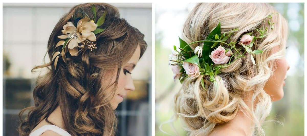 wedding hairstyles 2018, hairstyles with flowers