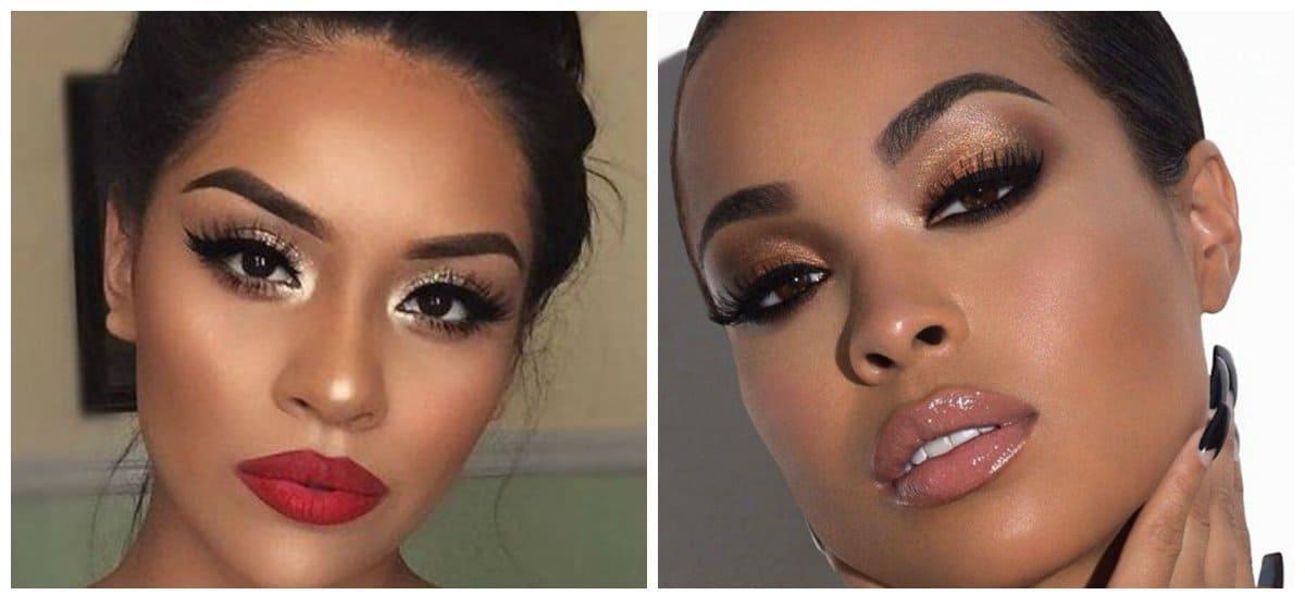wedding makeup 2018, dark lips, glossy eyes