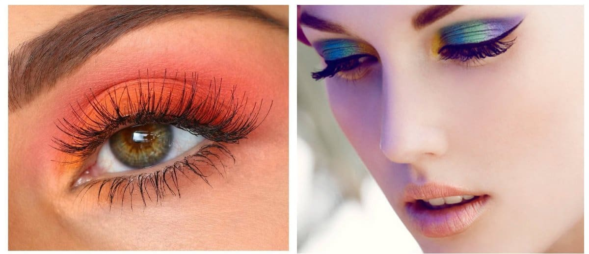 winter makeup trends 2018, bright eye makeup