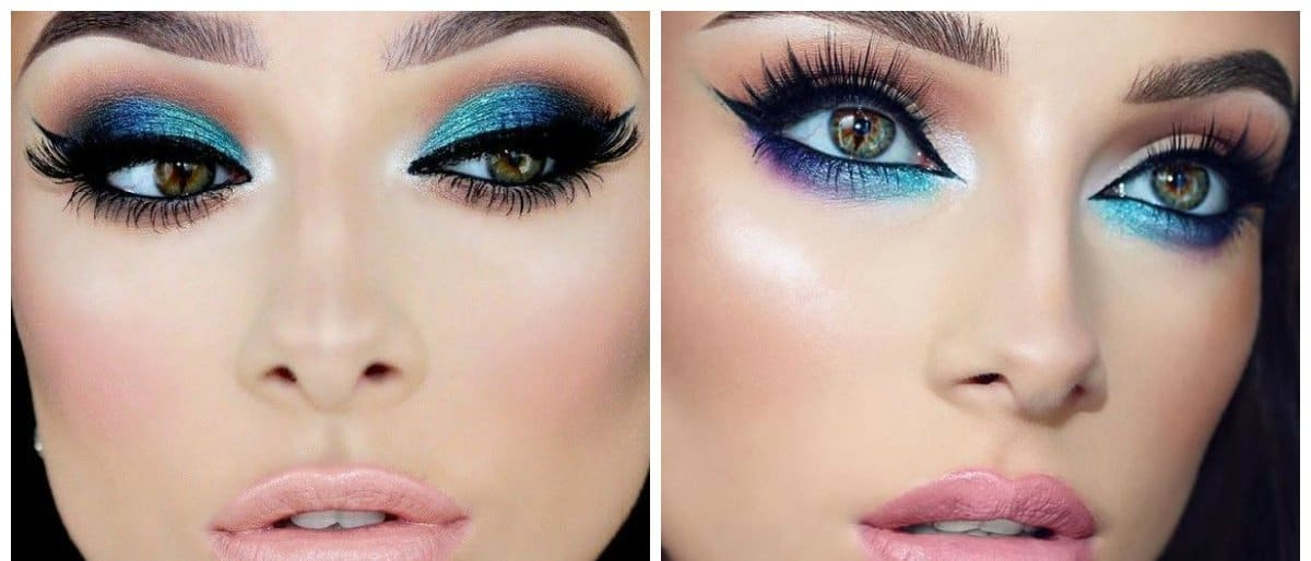 bridal makeup trends 2018, blue makeup