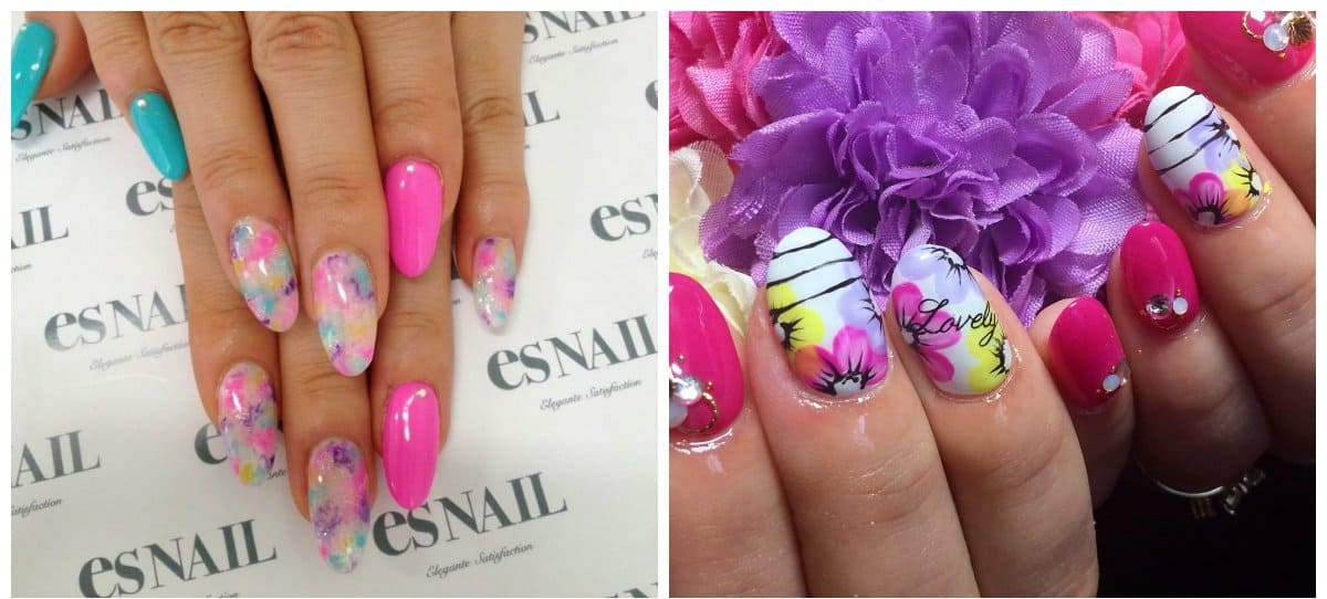 gel nails 2018, bright colors of gel nails