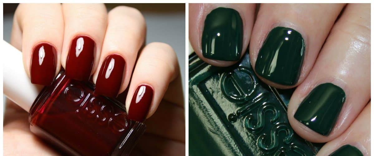 nail colour trends 2018, crimson nails, green nails
