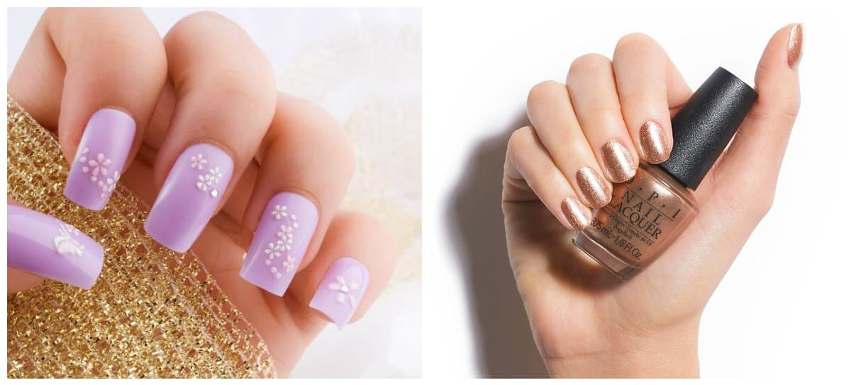 nail colour trends 2018, lavender nails, caramel nails