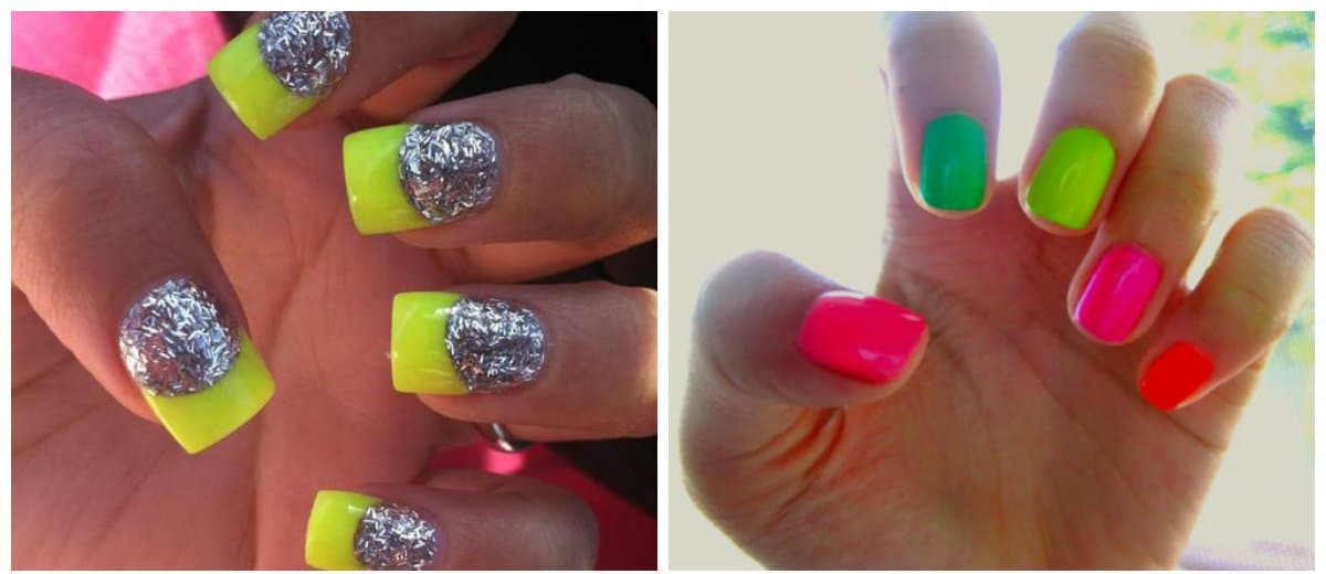 nail colour trends 2018, neon nail colors