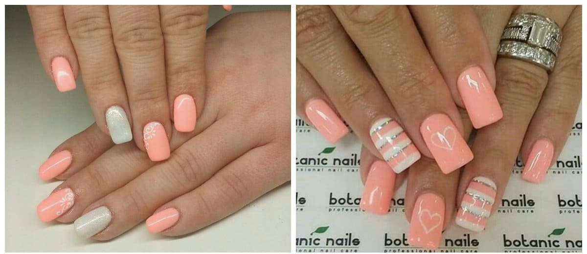 nail colour trends 2018, peach nail color