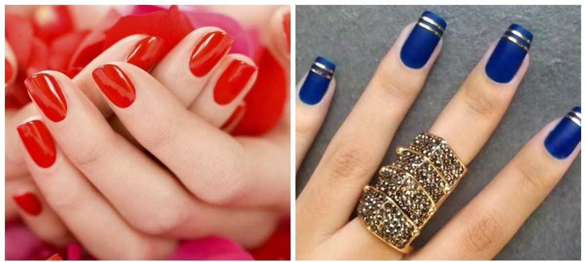 nail colour trends 2018,red nails, blue nails