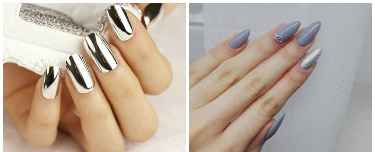 new nail colors 2018, gray nails, silver metallic nails