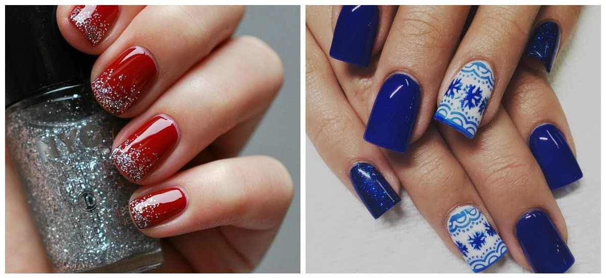 new nail colors 2018, red nails, dark blue nails