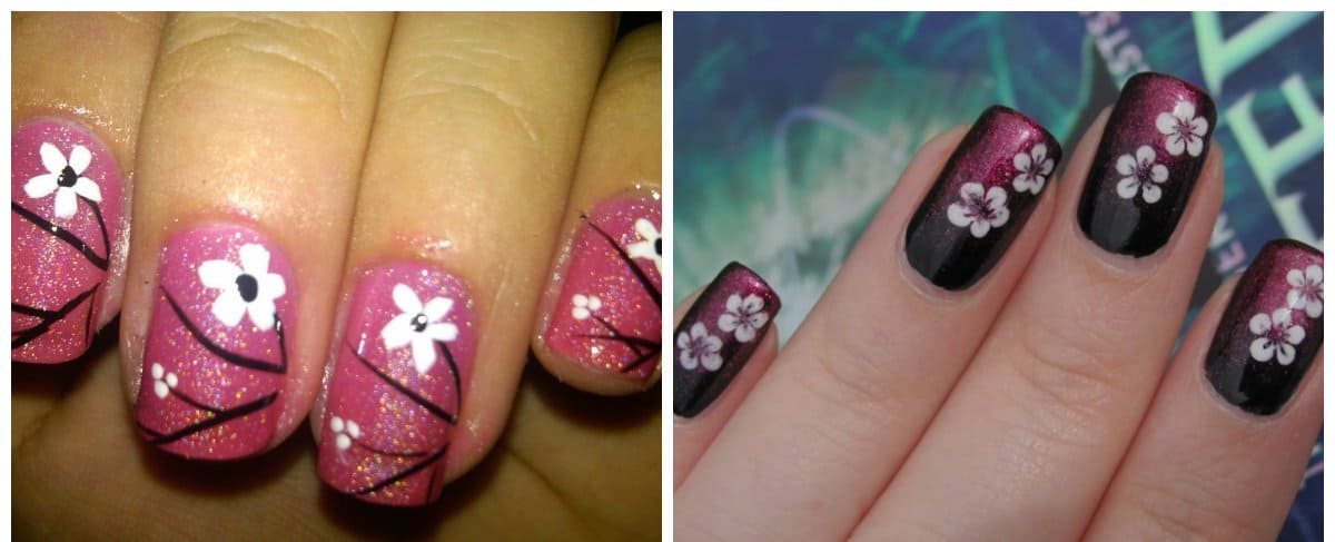 new nail designs 2018, nails with flower design