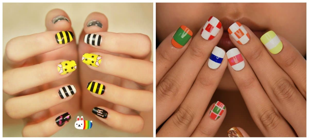 new nail designs 2018, manicure with stickers