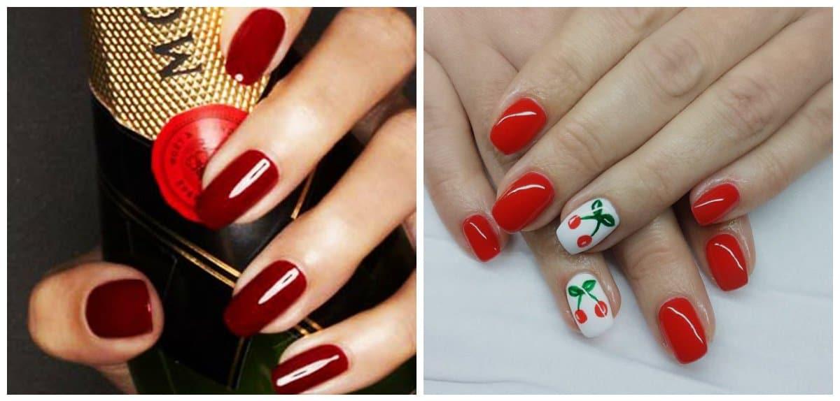 top nail colors 2018, cherry nails,crimson nails