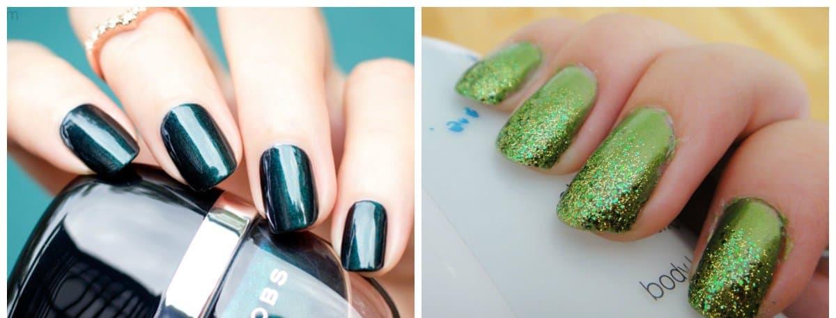 top nail colors 2018, emerald nails, green nails