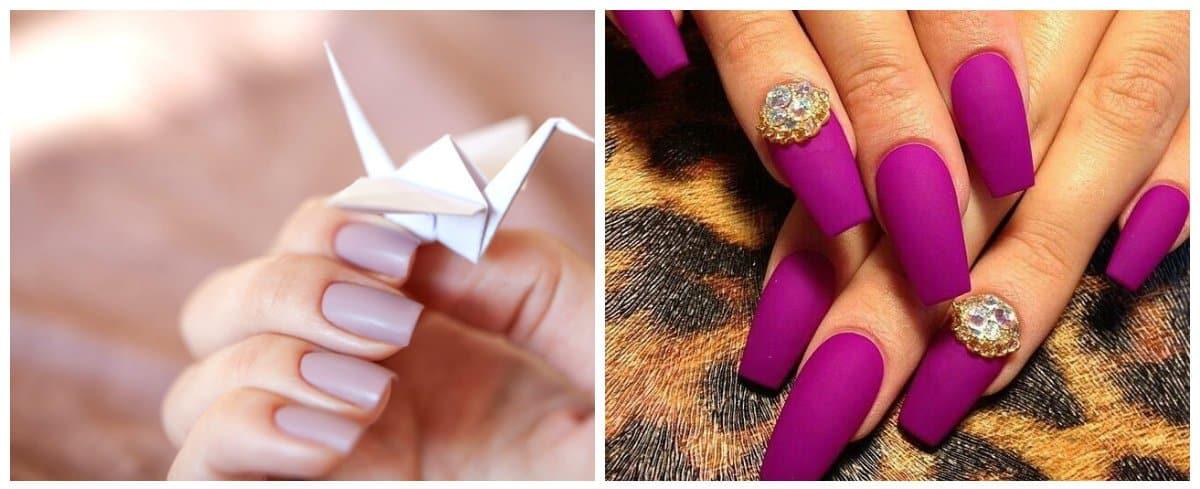 top nail colors 2018, matte blueberry nails, matte violet nails