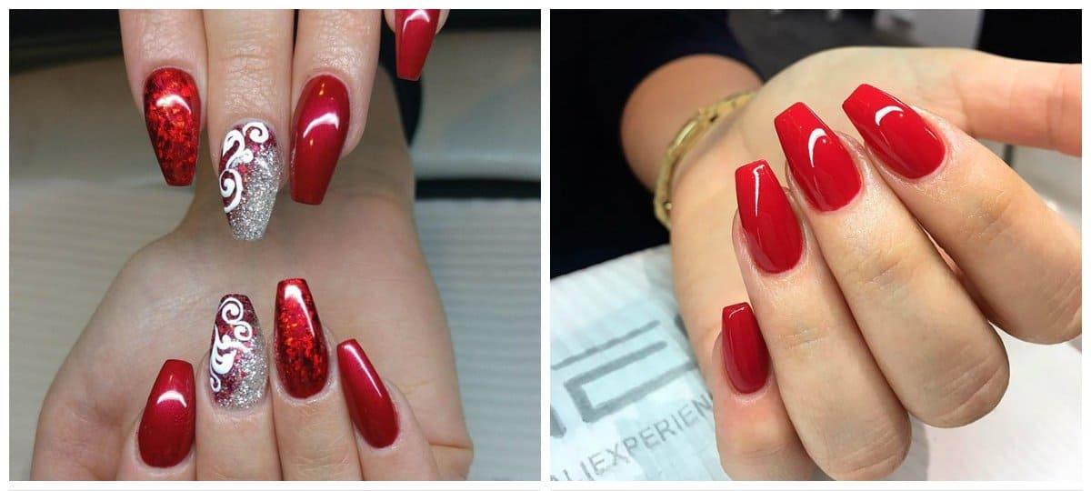 top nail colors 2018, stylish red nails