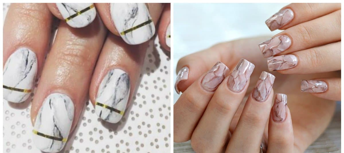 new nail art 2018, marble manicure