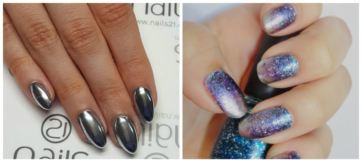 new nail art 2018, mirror nails, cosmic nails
