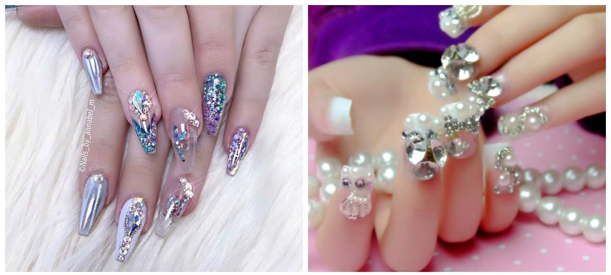 new nail art 2018, transparent glitter nails