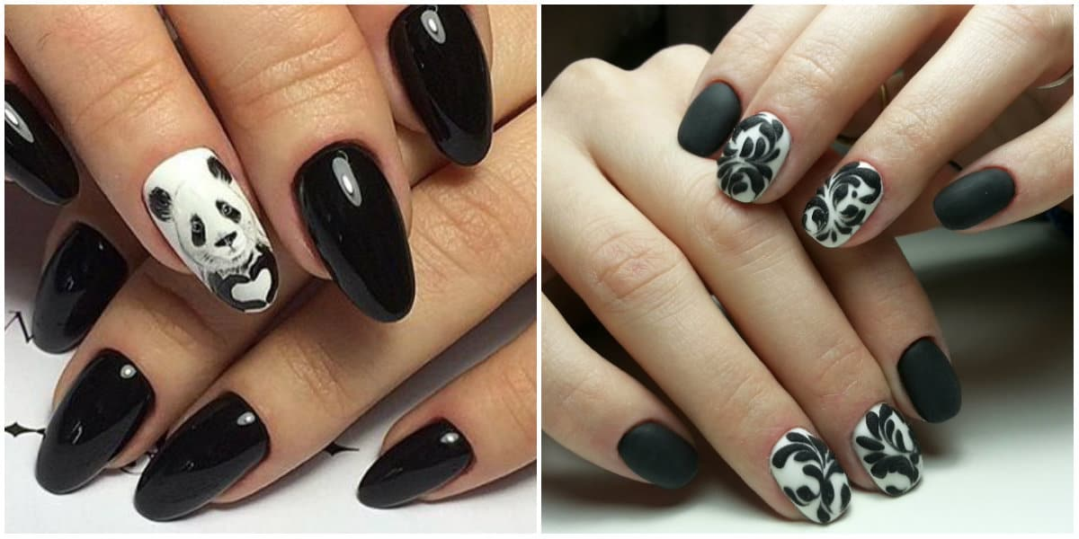 Black Nails 2019: Black Nail design with picture and ornaments