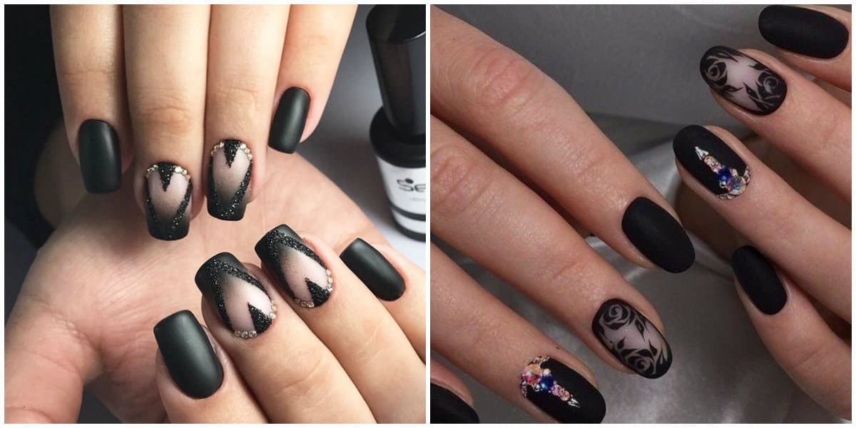 Black Nails 2019: Black nail design with rhinestones and ornaments
