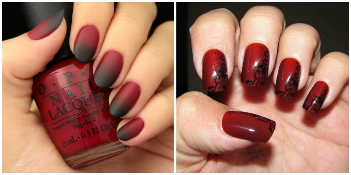 Black Nails 2019: Black and red nail design: Ombre technique: Black and red with ornaments
