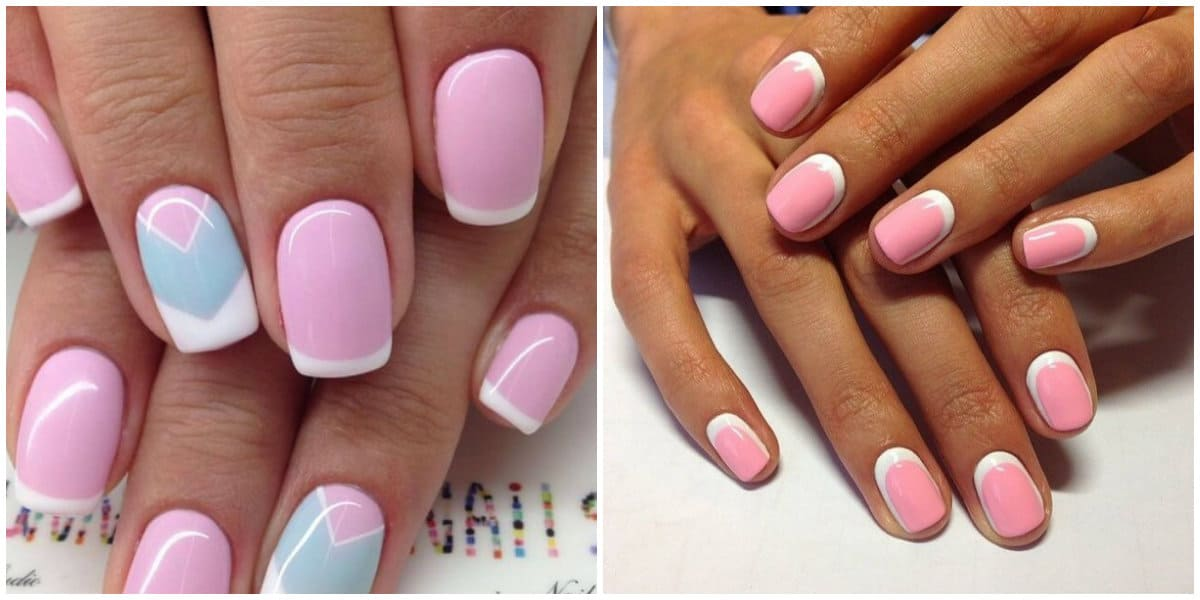 French Nails 2021: Pink base and white French: Lunar French Style