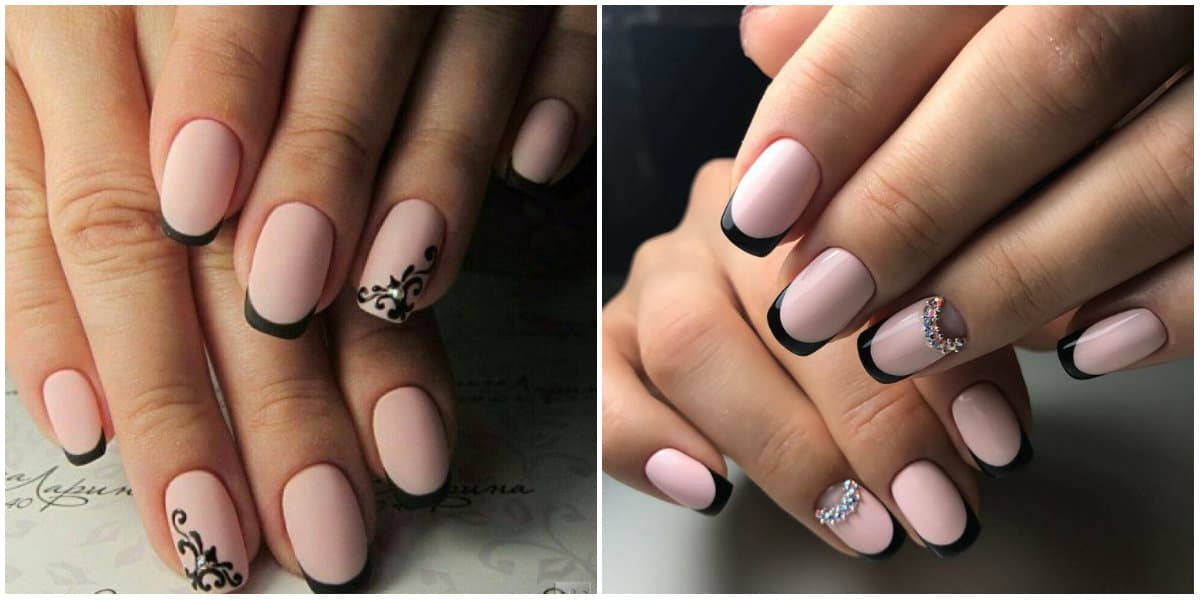 French Nails 2021: Black French Nails : Nails with rhinestones and ornaments