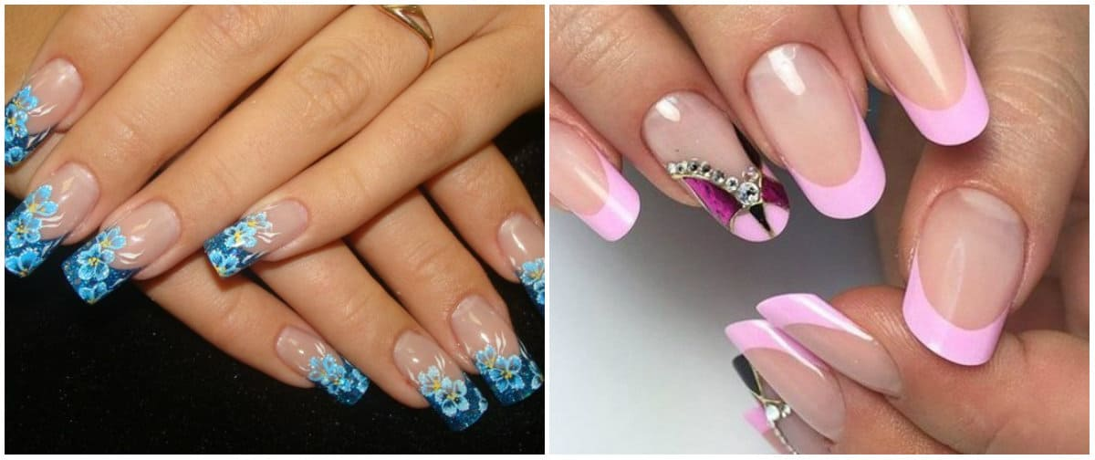 French Nails 2021: French on long nails: French with ornaments and rhinestones