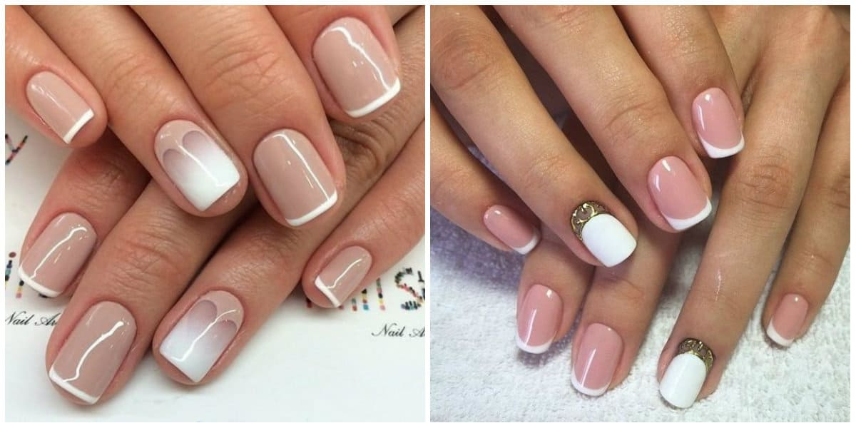 French Nails 2021: French Nail Style with rhinestones