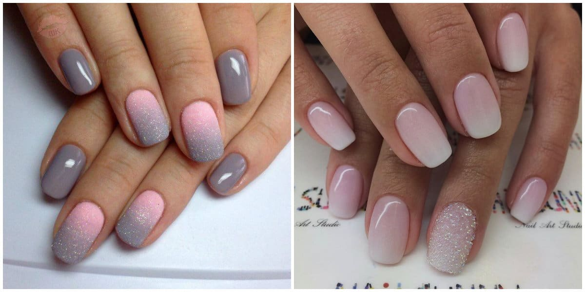 Nail Style 2020: Square Nails in blue, pink and grey colors