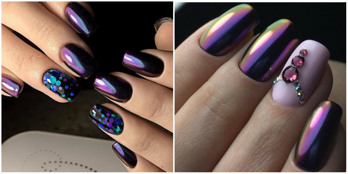 Nail Style 2020: purple and blue square and oval nails