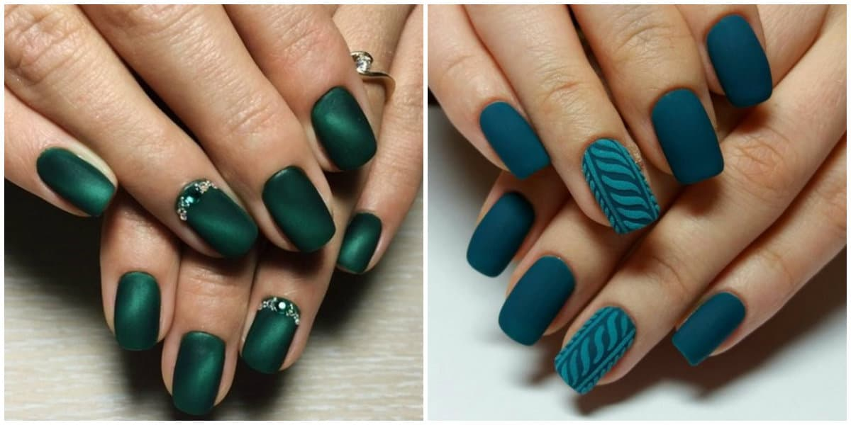 Nail Style 2020, green and blue colored nail designs with cool stones