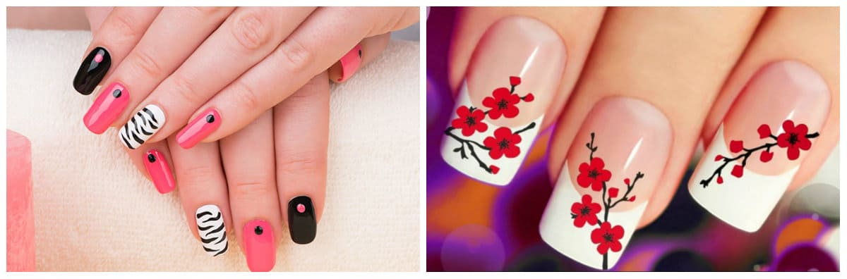 Nail Style 2020: black, red Nail design with flowers