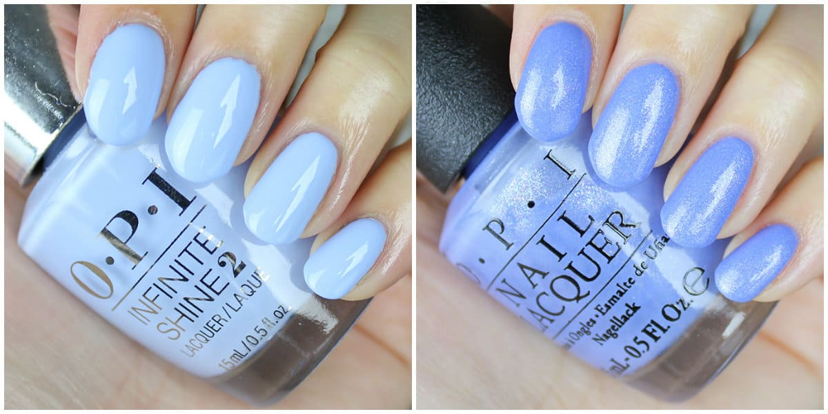 OPI Colors 2019: Soft Blue and purple nail colors with glister