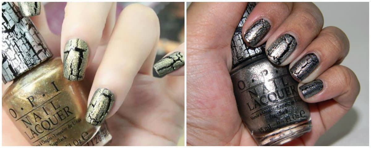 OPI Colors 2019: Nail polishes with crack effect: Gold and silver nail colors