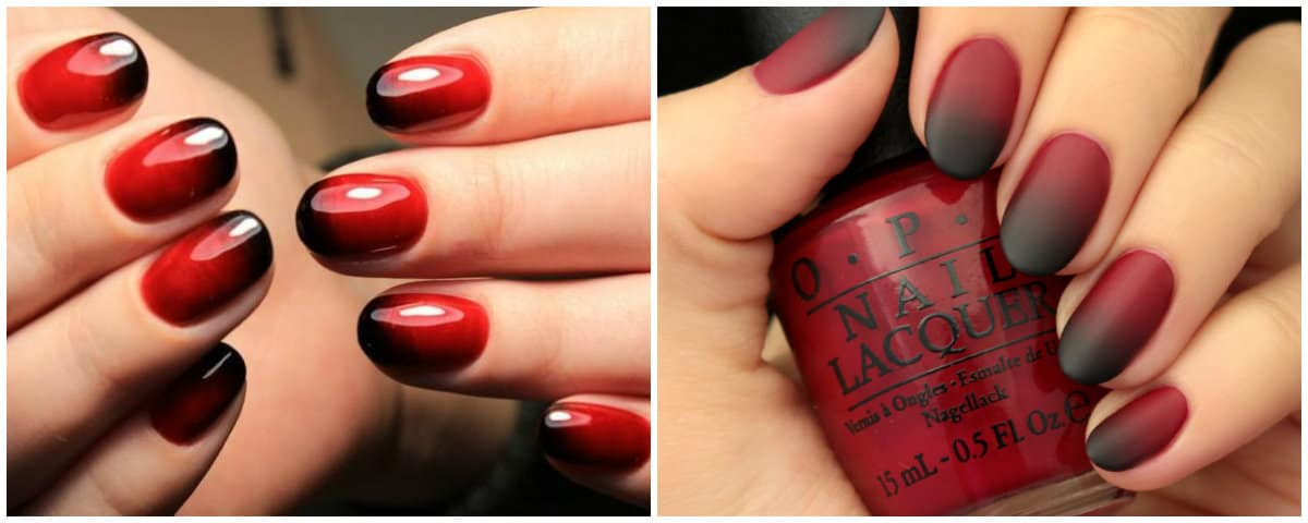 Ombre Nails 2021: Black and Red Ombre effect