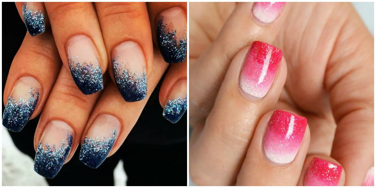 Ombre Nails 2021: Ombre effect with glisters: Gradiant effect