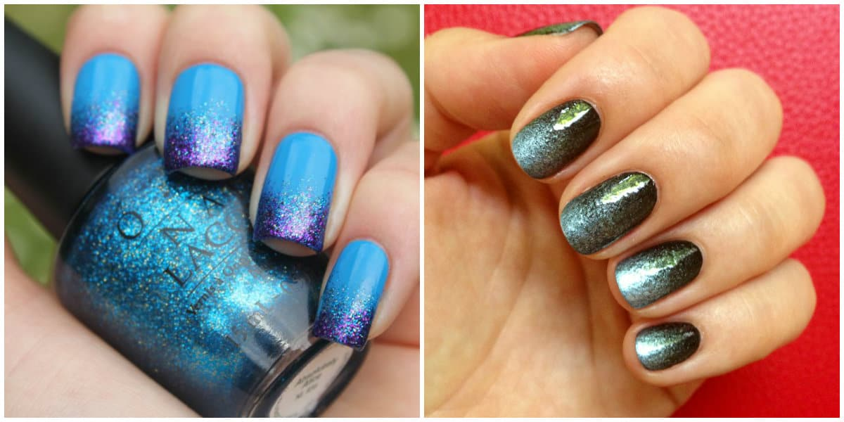 Ombre Nails 2021: Ombre technique: Ombre with glisters