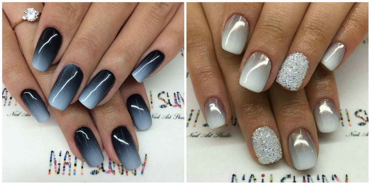 Ombre Nails 2021: Mettalic Ombre: Black and white metallic ombre effect