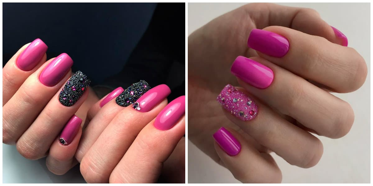 Pink Nails 2021: Pink nail design on short nails : dark shade of pink