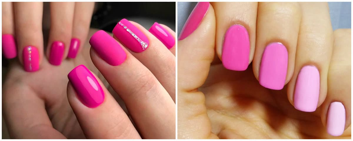 pink Nails 2019: Pink shades on short nails