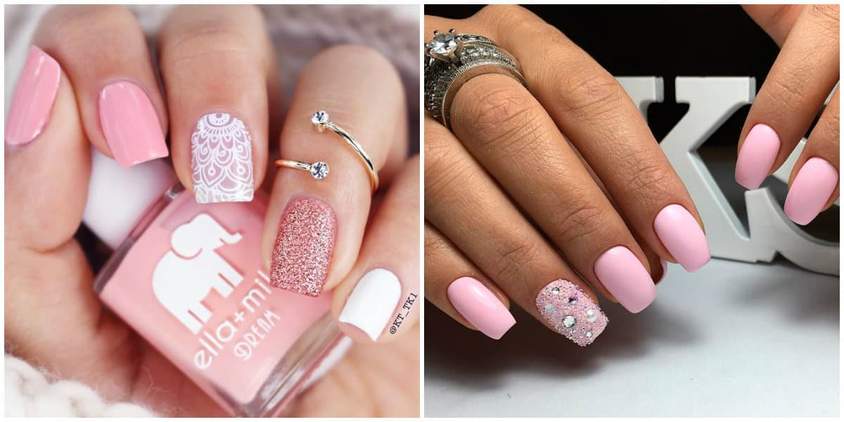 Pink Nails 2019: Pink nail design with glisters